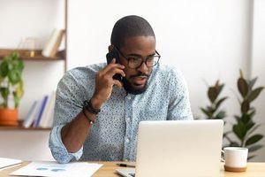 black man attending call