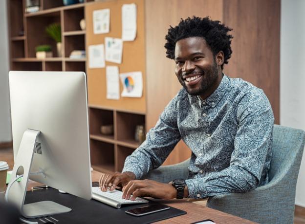 black businessman working on computer